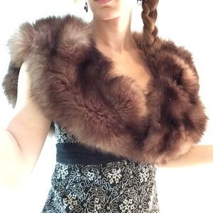 Real Fur Vintage Shawl Cape Stole